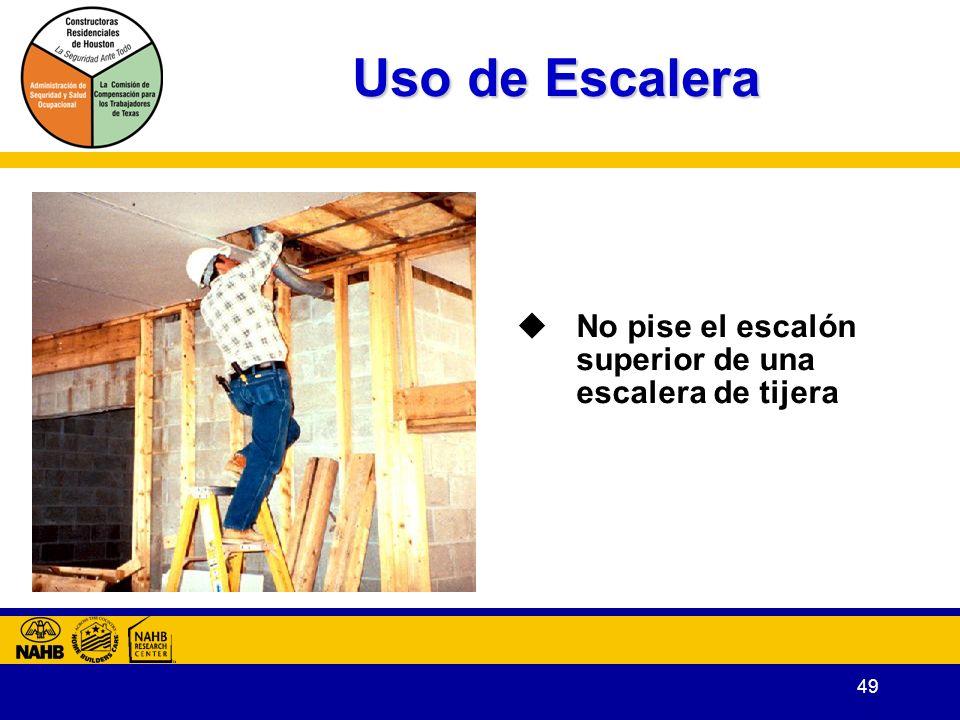 Uso de Escalera No pise el escalón superior de una escalera de tijera