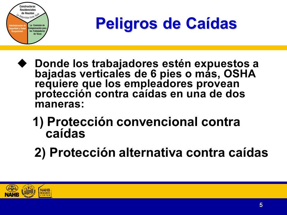 Peligros de Caídas 2) Protección alternativa contra caídas