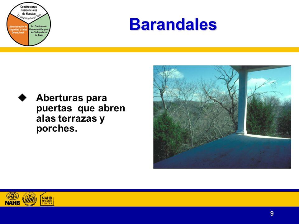 Barandales Aberturas para puertas que abren alas terrazas y porches.