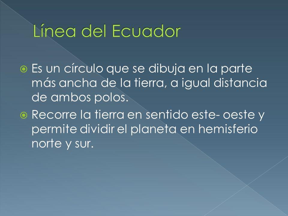 Línea del Ecuador Es un círculo que se dibuja en la parte más ancha de la tierra, a igual distancia de ambos polos.