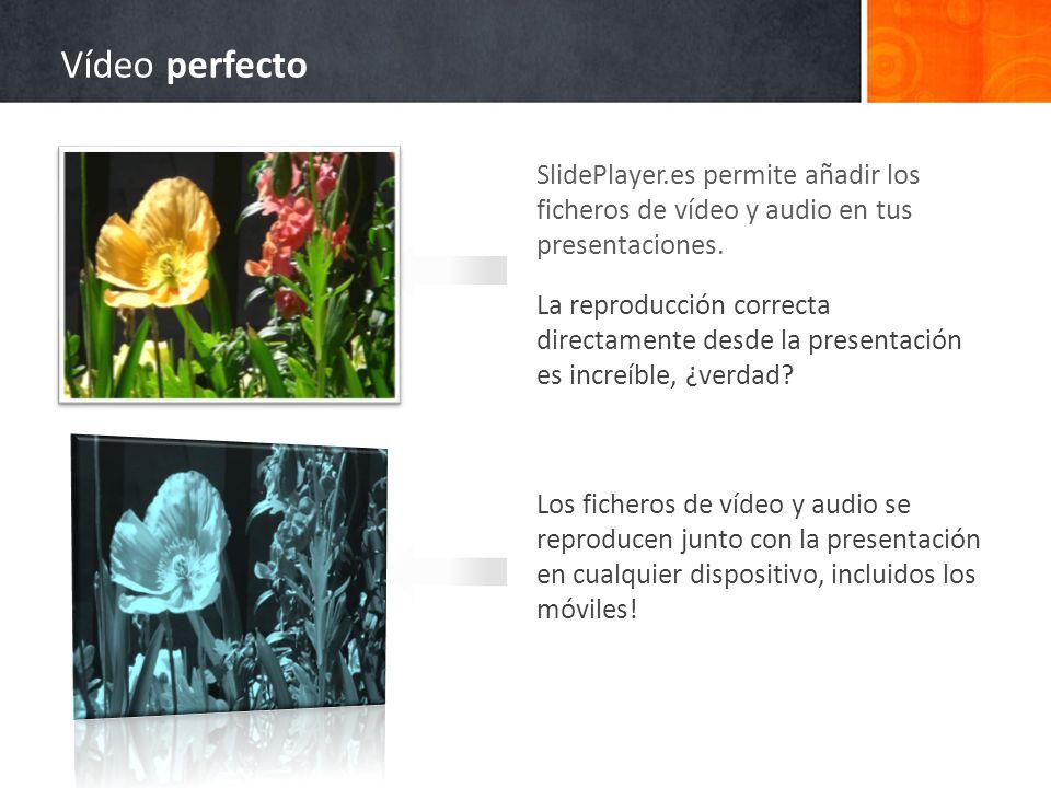 Vídeo perfecto SlidePlayer.es permite añadir los ficheros de vídeo y audio en tus presentaciones.