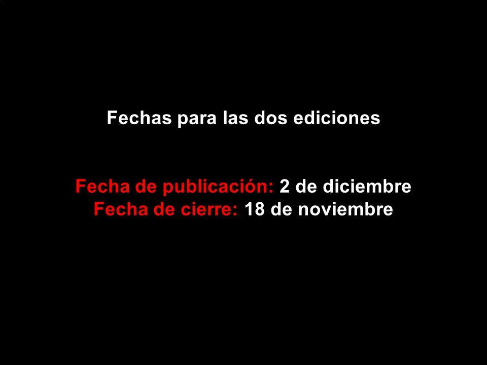 Fechas para las dos ediciones Fecha de publicación: 2 de diciembre Fecha de cierre: 18 de noviembre