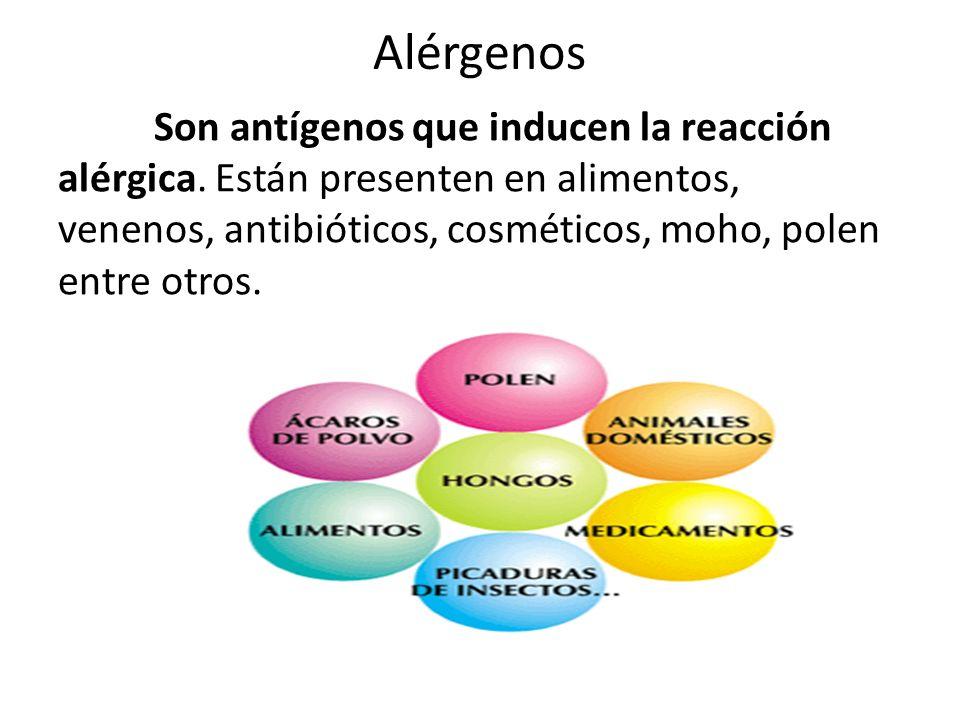Alérgenos Son antígenos que inducen la reacción alérgica.
