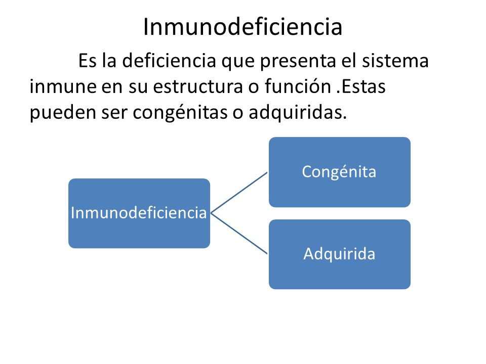 Inmunodeficiencia Es la deficiencia que presenta el sistema inmune en su estructura o función .Estas pueden ser congénitas o adquiridas.