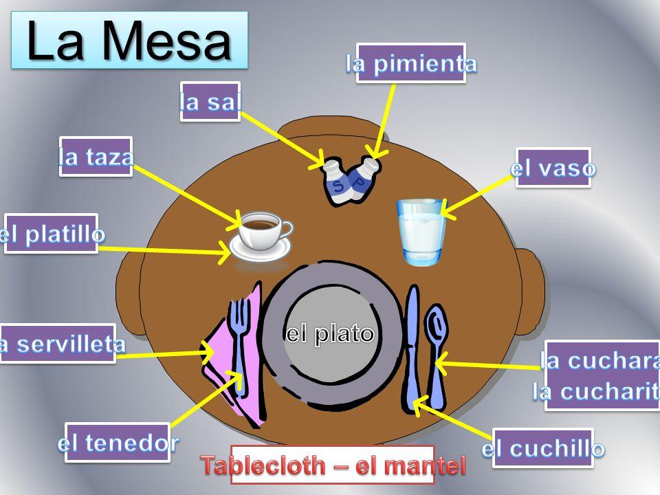 La Mesa la pimienta la sal la taza el vaso el platillo el plato