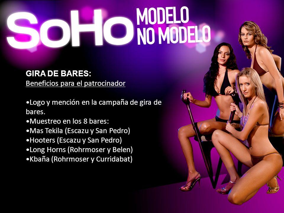 GIRA DE BARES: Beneficios para el patrocinador. Logo y mención en la campaña de gira de bares. Muestreo en los 8 bares: