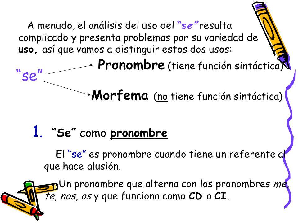 se Se como pronombre Pronombre (tiene función sintáctica)