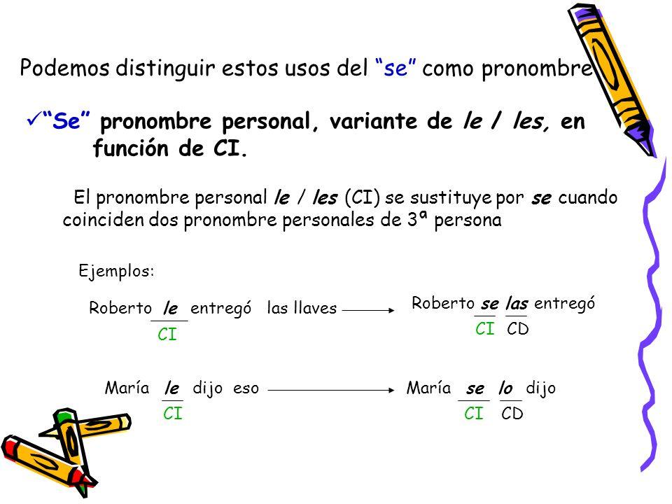 Podemos distinguir estos usos del se como pronombre