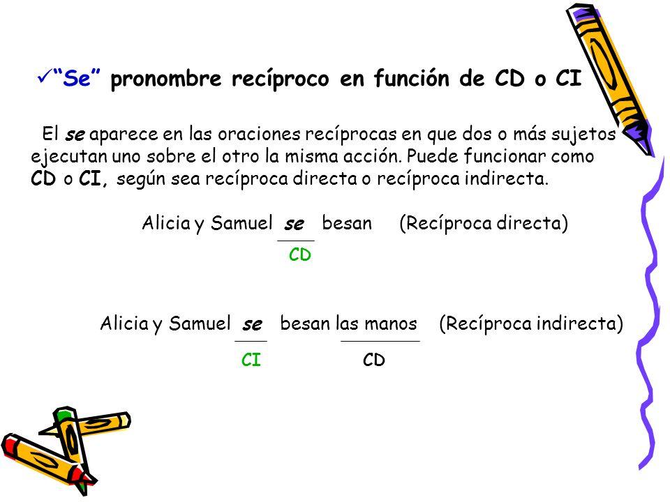 Se pronombre recíproco en función de CD o CI