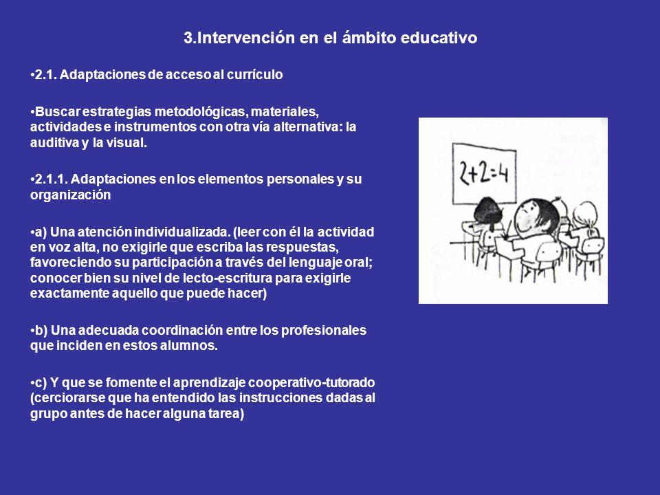 3.Intervención en el ámbito educativo
