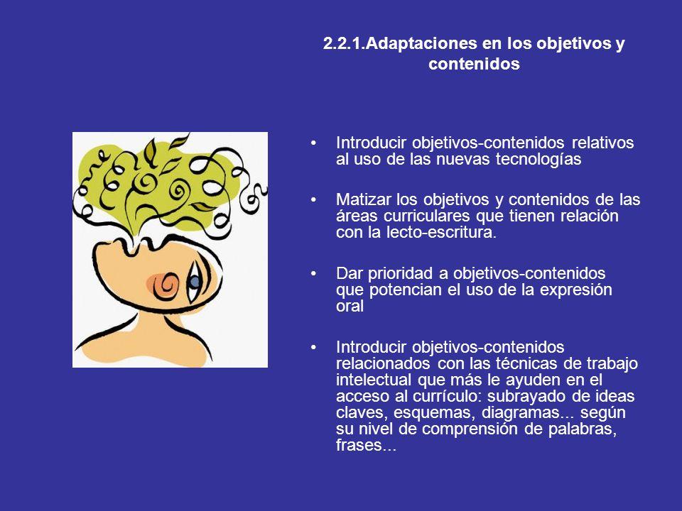 2.2.1.Adaptaciones en los objetivos y contenidos