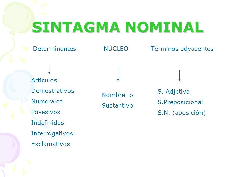 SINTAGMA NOMINAL Determinantes NÚCLEO Términos adyacentes Artículos