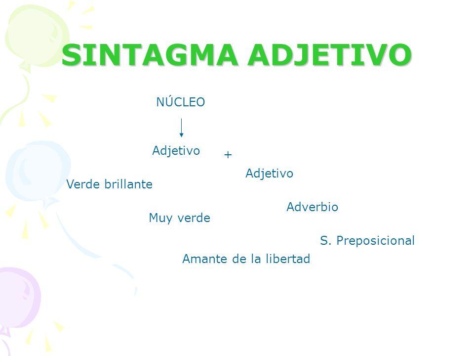 SINTAGMA ADJETIVO NÚCLEO Adjetivo + Adjetivo Verde brillante Adverbio