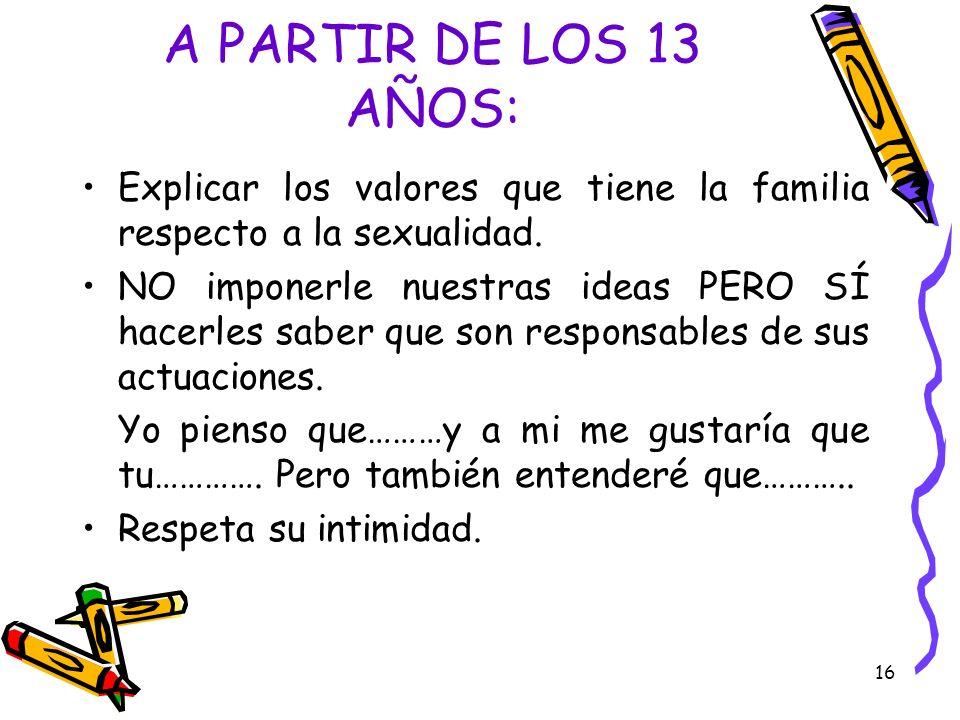 A PARTIR DE LOS 13 AÑOS: Explicar los valores que tiene la familia respecto a la sexualidad.