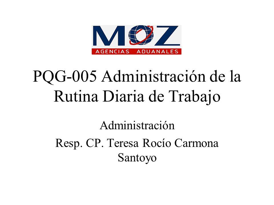 PQG-005 Administración de la Rutina Diaria de Trabajo