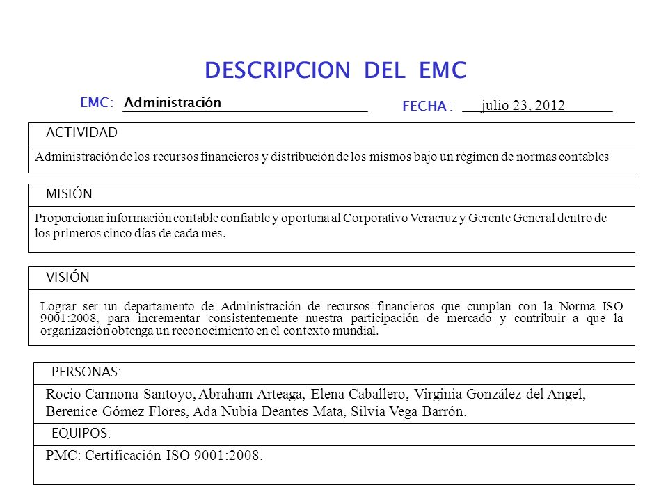 DESCRIPCION DEL EMC julio 23, 2012