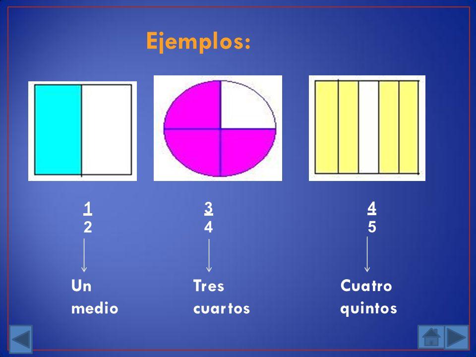 Ejemplos: Tres cuartos 3 4 Cuatro quintos 4 5 Un medio 1 2