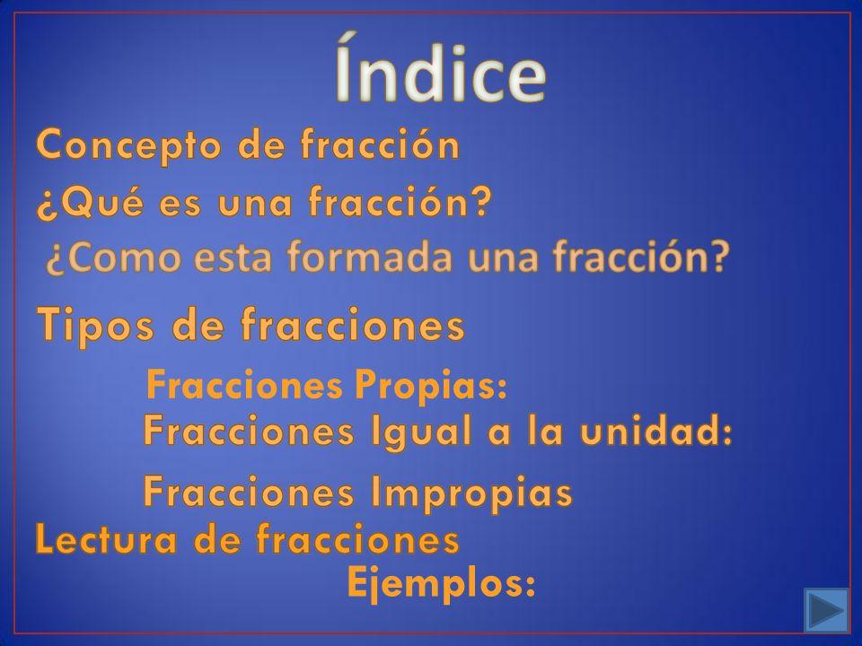 Índice ¿Como esta formada una fracción Fracciones Propias: Ejemplos: