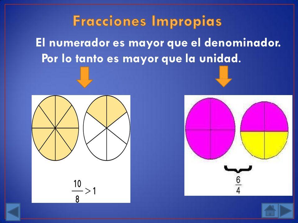 El numerador es mayor que el denominador.
