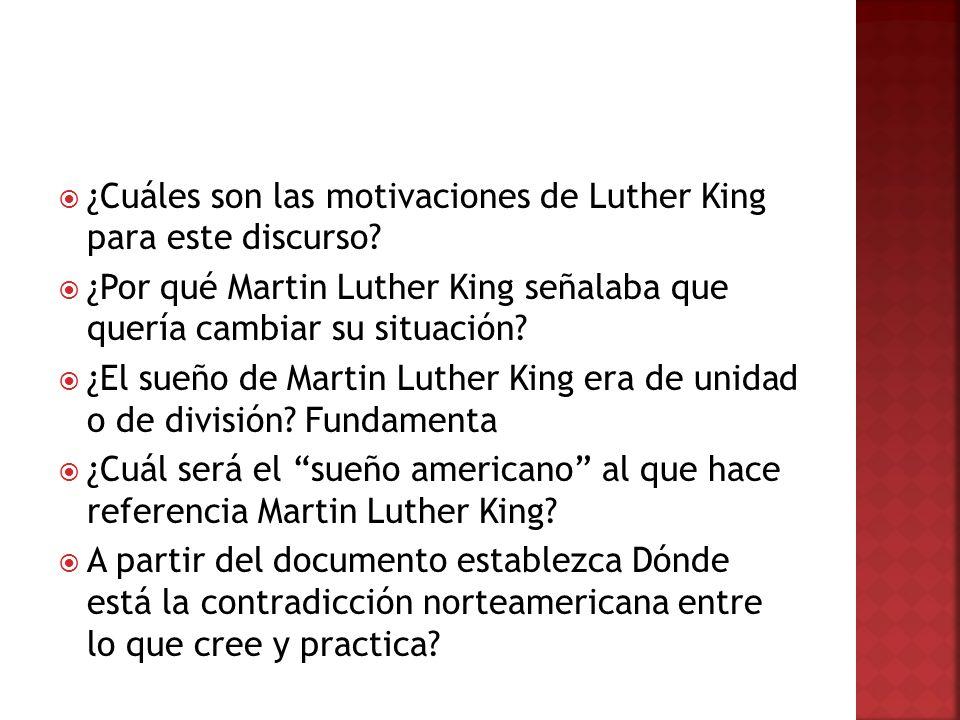 ¿Cuáles son las motivaciones de Luther King para este discurso