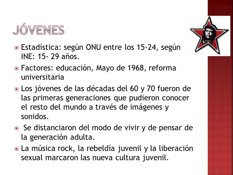 Jóvenes Estadística: según ONU entre los 15-24, según INE: 15- 29 años. Factores: educación, Mayo de 1968, reforma universitaria.