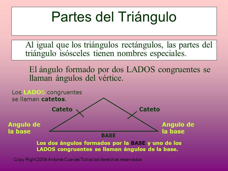Partes del Triángulo Al igual que los triángulos rectángulos, las partes del triángulo isósceles tienen nombres especiales.
