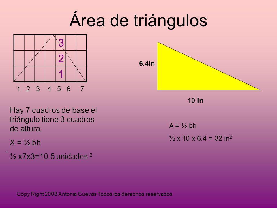 Área de triángulos 3. 2. 1. 6.4in. 1 2 3 4 5 6 7. 10 in. Hay 7 cuadros de base el triángulo tiene 3 cuadros de altura.
