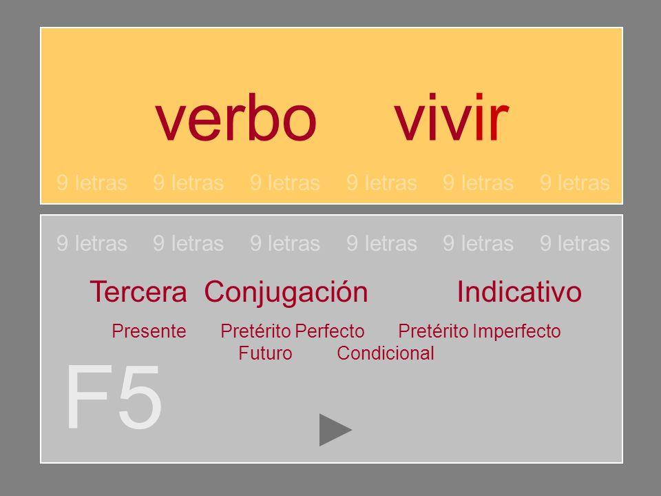 F5 verbo vivir Tercera Conjugación Indicativo