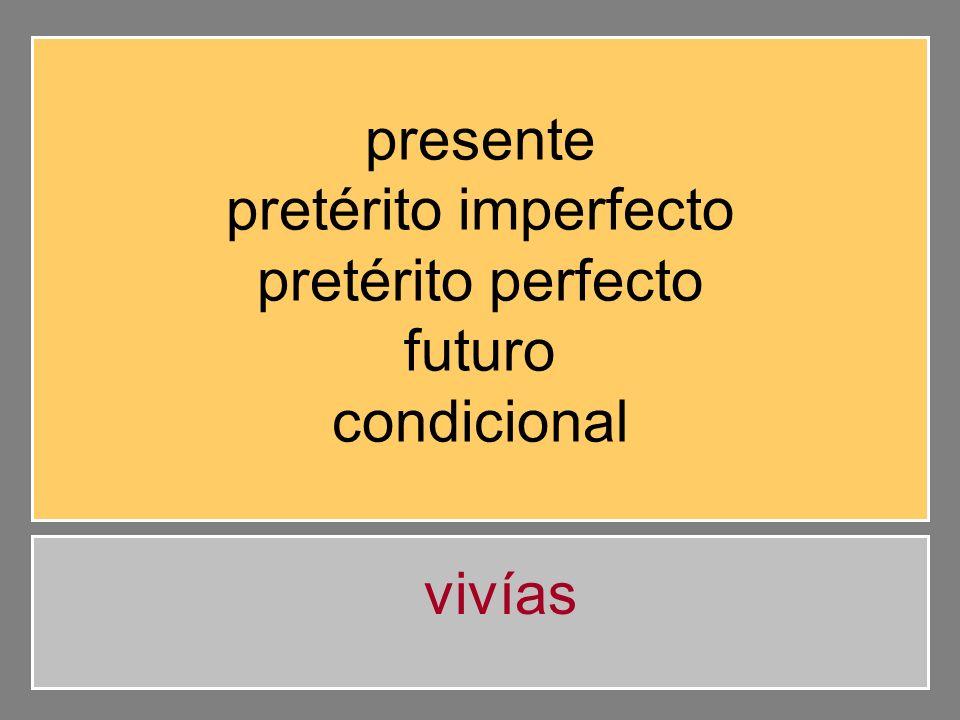 presente pretérito imperfecto pretérito perfecto futuro condicional vivías