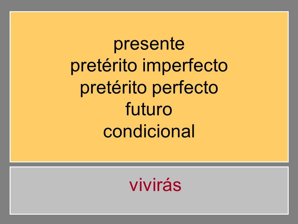 presente pretérito imperfecto pretérito perfecto futuro condicional vivirás