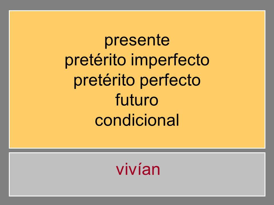 presente pretérito imperfecto pretérito perfecto futuro condicional vivían