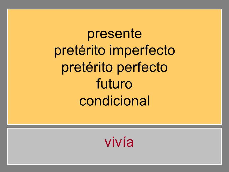 presente pretérito imperfecto pretérito perfecto futuro condicional vivía
