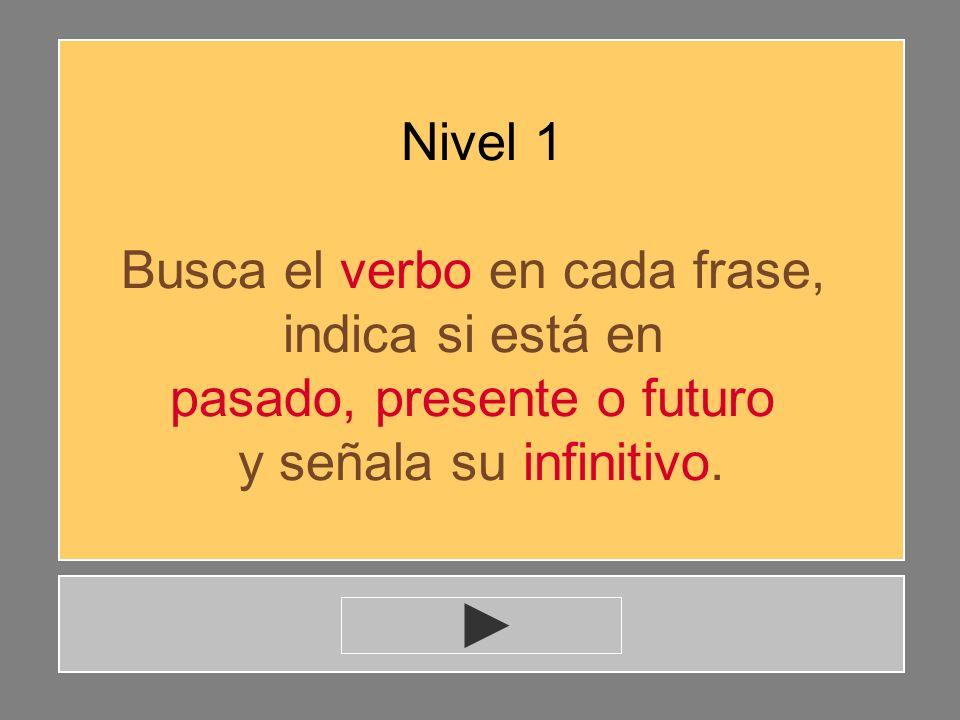 Busca el verbo en cada frase, indica si está en