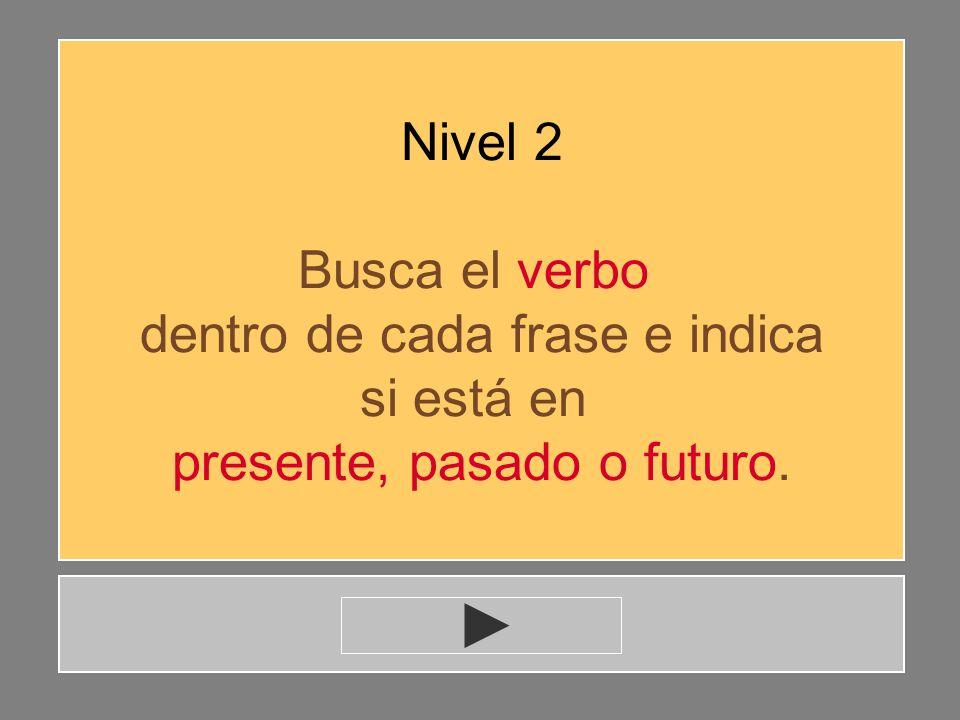 dentro de cada frase e indica si está en presente, pasado o futuro.
