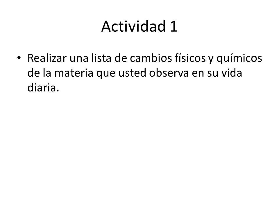 Actividad 1 Realizar una lista de cambios físicos y químicos de la materia que usted observa en su vida diaria.