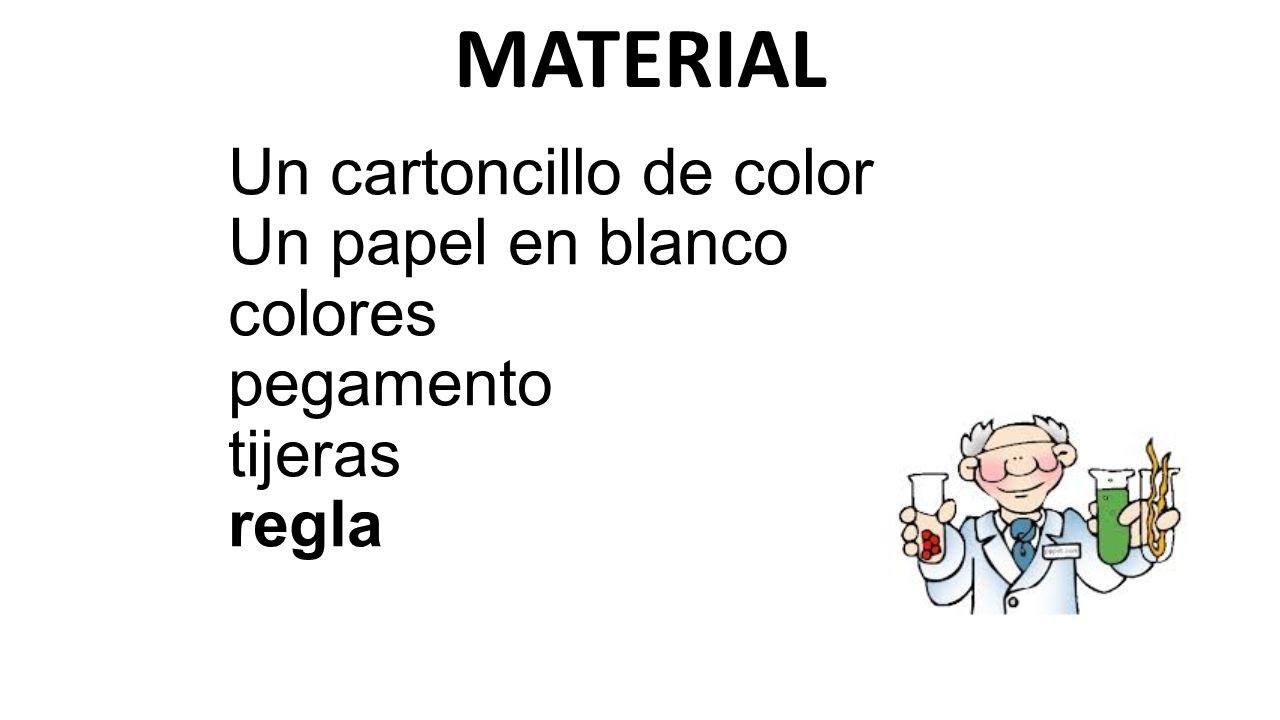 MATERIAL Un cartoncillo de color Un papel en blanco colores pegamento tijeras regla
