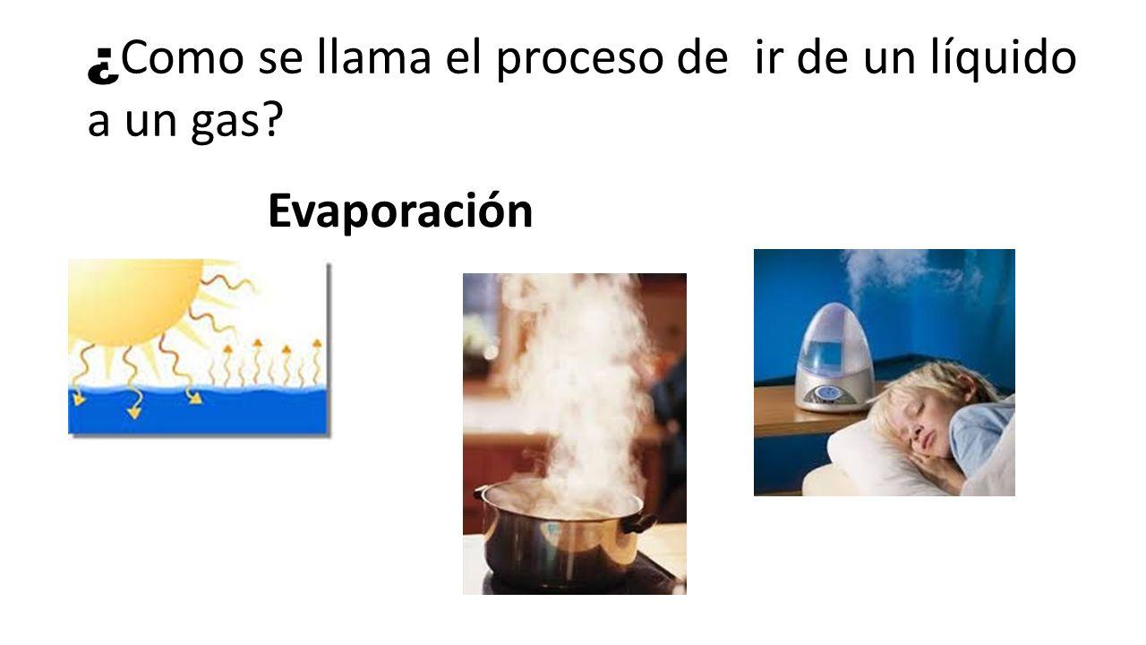 ¿Como se llama el proceso de ir de un líquido a un gas