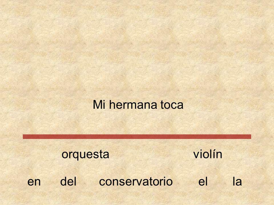 Mi hermana toca orquesta violín en del conservatorio el la
