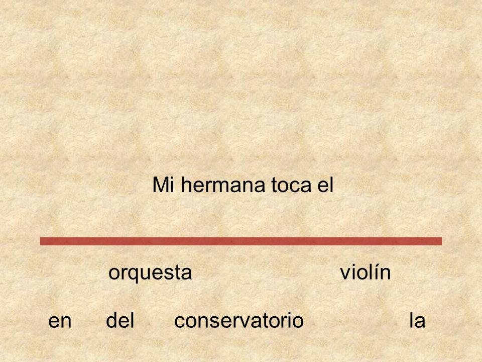 Mi hermana toca el orquesta violín en del conservatorio la