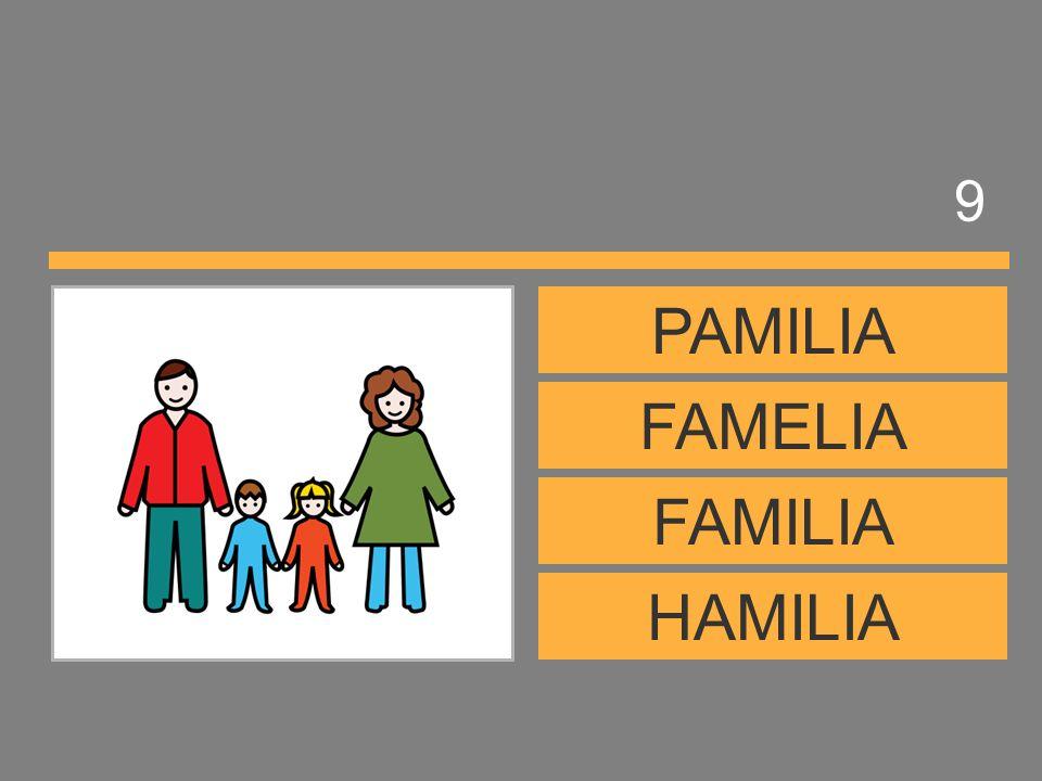 9 PAMILIA FAMELIA FAMILIA HAMILIA