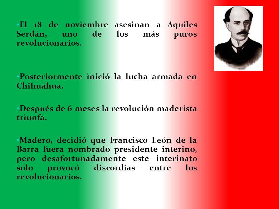 El 18 de noviembre asesinan a Aquiles Serdán, uno de los más puros revolucionarios.