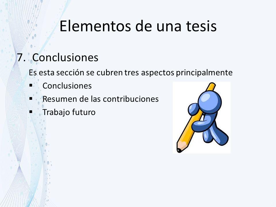 Elementos de una tesis Conclusiones