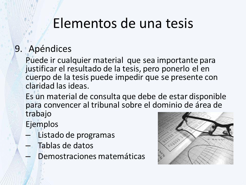 Elementos de una tesis Apéndices