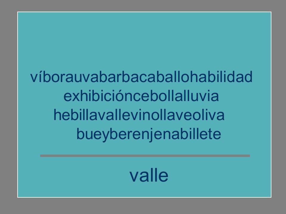 valle víborauvabarbacaballohabilidad exhibicióncebollalluvia