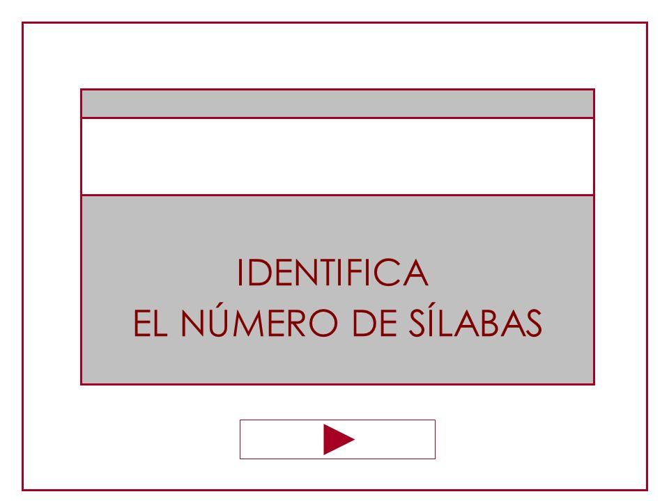 IDENTIFICA EL NÚMERO DE SÍLABAS