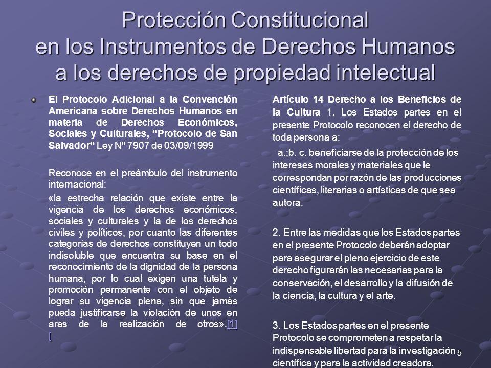 Protección Constitucional en los Instrumentos de Derechos Humanos a los derechos de propiedad intelectual