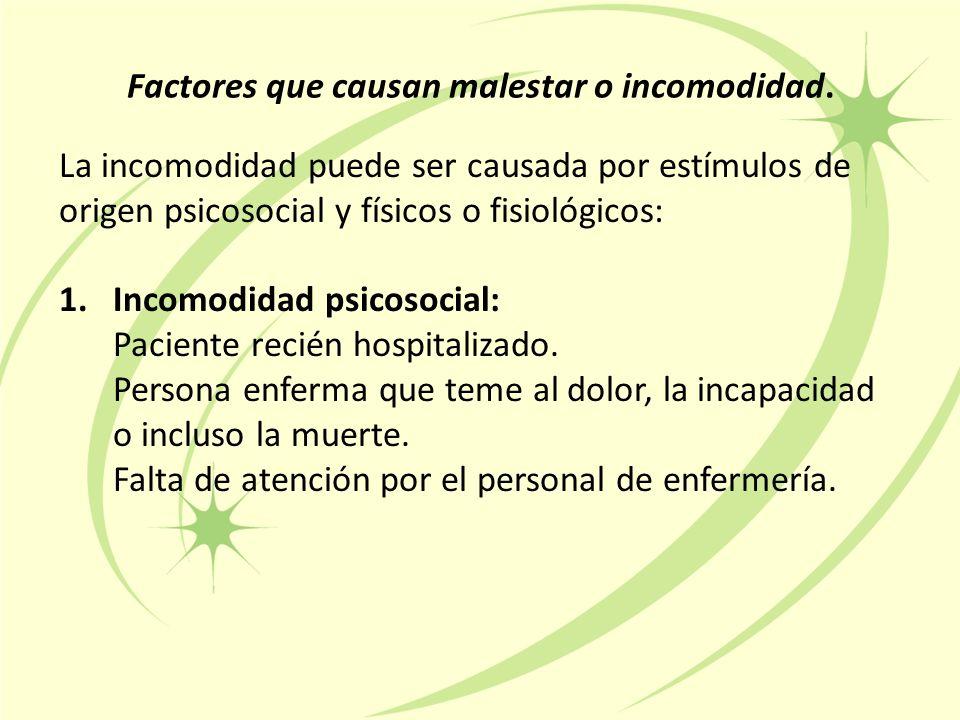 Factores que causan malestar o incomodidad.