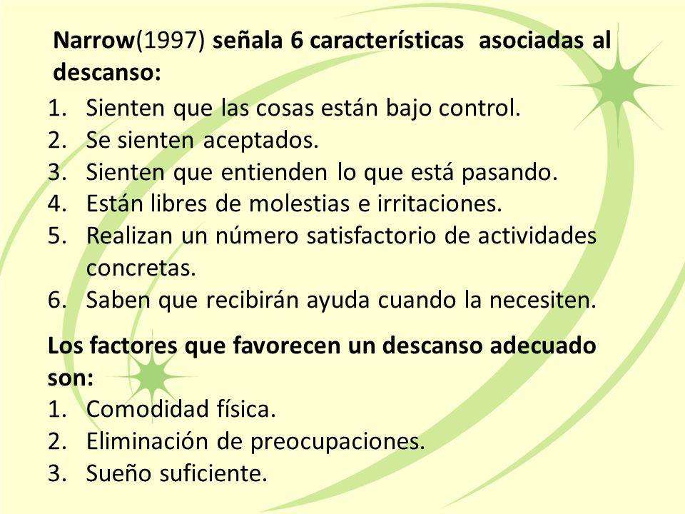 Narrow(1997) señala 6 características asociadas al descanso: