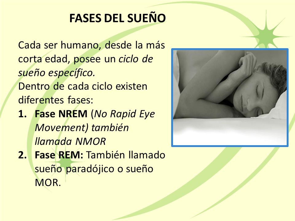 FASES DEL SUEÑO Cada ser humano, desde la más corta edad, posee un ciclo de sueño específico. Dentro de cada ciclo existen diferentes fases: