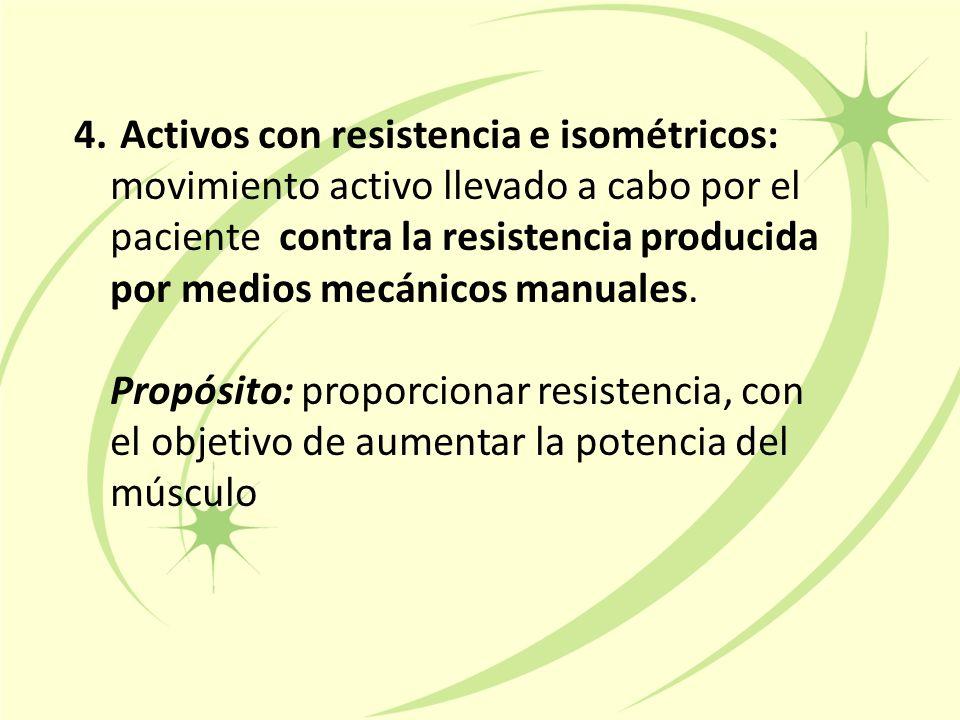 Activos con resistencia e isométricos: movimiento activo llevado a cabo por el paciente contra la resistencia producida por medios mecánicos manuales.